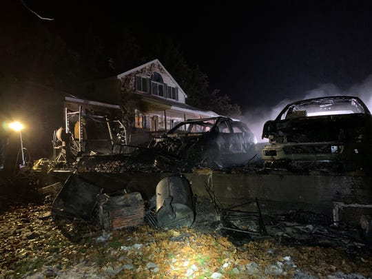 A garage fire destroyed three vehicles in Collegeville Township, Sunday, Dec. 1, 2019.