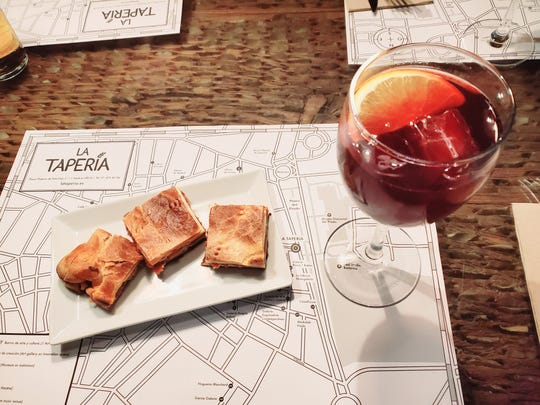 A traditional glass of Spanish Sangria and tapas made a great first meal in Spain.