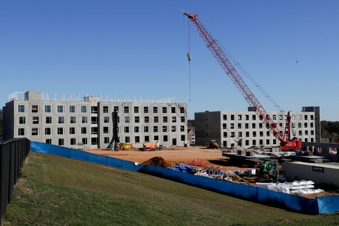 Construction continues on Florida A&M University's new 700-bed residence hall Monday, Dec. 2, 2019.