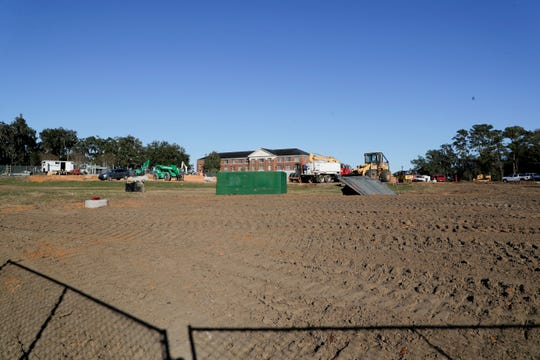 """The ground has been cleared at the future site of Florida A&M University's new amphitheater and parking lot, planned for the """"quad"""" section on campus just south of Lee Hall Monday, Dec. 2, 2019."""