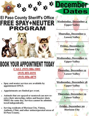 El Paso County Sheriff's free spay and neuter program December schedule.