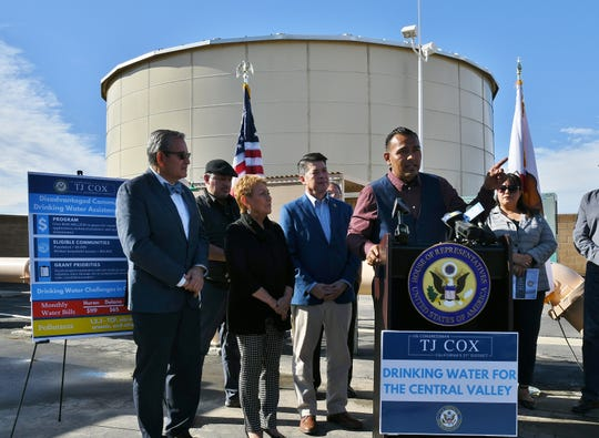Wasco Mayor Alex Garcia speaks at a press conference announcing the Disadvantaged Community Drinking Water Assistance Act, a new bill introduced by Rep. TJ Cox aimed at helping mid-sized cities across the Valley with contaminated drinking water.