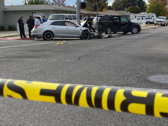 Several people were injured in a collision at Tulare Avenue and Giddings Street where traffic is diverted.
