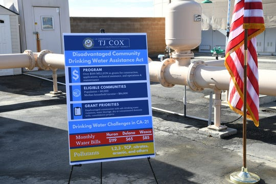 Rep. TJ Cox and several Central Valley mayors visited Parlier's water storage facility in Fresno County to announce the Disadvantaged Community Drinking Water Assistance Act on Dec. 2.