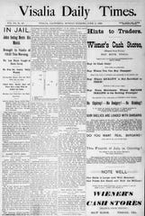 A reproduction of the Visalia Times 1893 coverage of the capture of Evans and Sontag.