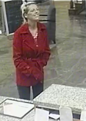 Sometime between Nov. 9 and 10, someone misplaced a wallet in aRib Mountain hotel lounge. Then, in the early morning hours on the 10th, several large purchases were made at Walmart, using the stolen credit cards from the lost wallet. While two males appeared to be involved in this theft, one of the males has already been identified. However, the female pictured in this surveillance photo was also involved, and she still needs to be identified.
