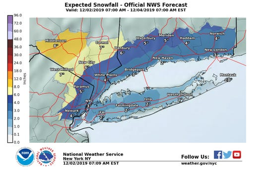 Snow is projected to fall Monday through early Tuesday in the Lower Hudson Valley.