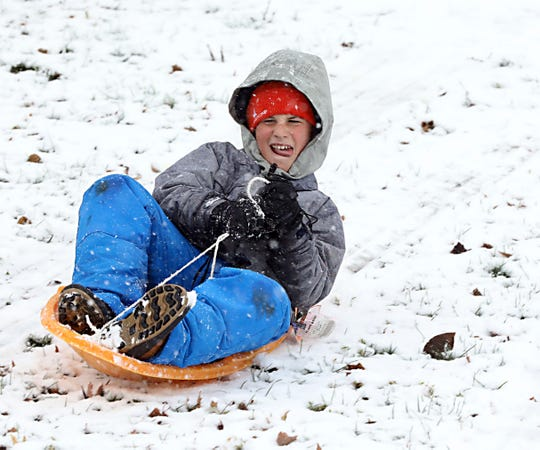 Nate Hersch sleds down a hill at Nyack Memorial Park Dec. 2, 2019. Up to seven inches of snow is forecasted for the region as the snow is predicted to fall through part of Tuesday.