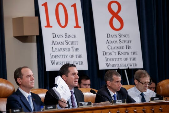 House Intelligence Committee Republican leader Devin Nunes, second from left, delivers opening remarks at an impeachment inquiry on Nov. 21, 2019.
