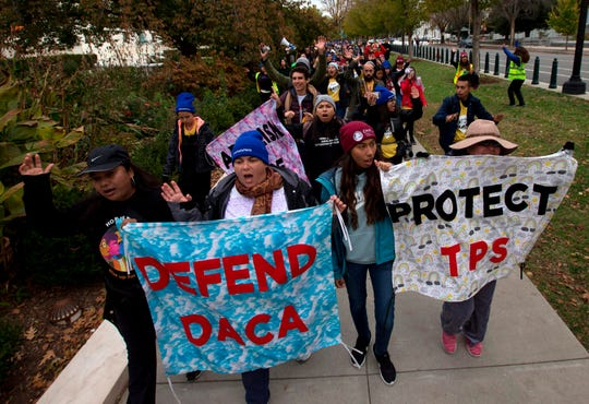 "Demonstrators arrive in front of the U.S. Supreme Court during the ""Home Is Here"" March for Deferred Action for Childhood Arrivals (DACA), and Temporary Protected Status (TPS) on Nov. 10, 2019, in Washington, D.C."