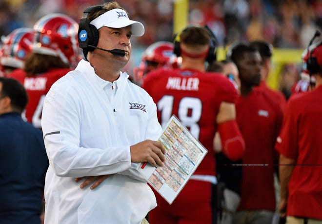 Florida Atlantic coach Lane Kiffin watches his team during the first half against Bethune-Cookman in 2018 at FAU Football Stadium.