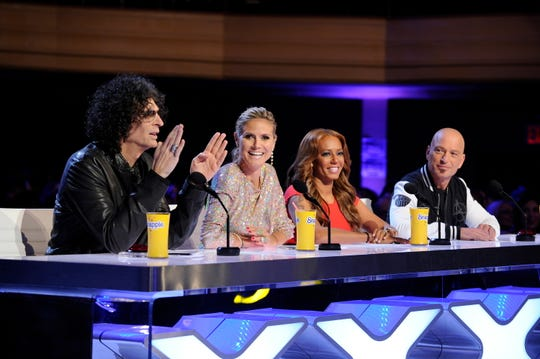"Howard Stern, left, Heidi Klum, Mel B and Howie Mandel at ""America's Got Talent"" Season 8 New York auditions."