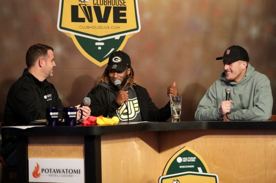 Green Bay Packers running back Aaron Jones (center) co-hosted Monday's Clubhouse Live with Brett Christopherson (left). Jones' guest was Packers rookie tight end Jace Sternberger (right). The show was held at The Clubhouse Sports Pub & Grill in downtown Appleton.