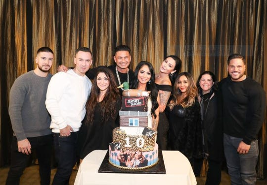 "The cast of MTV's ""Jersey Shore"" with show creator SallyAnn Salsano"