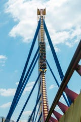 This is the first drop on the Nitro rollercoaster at Six Flags Great Adventure.