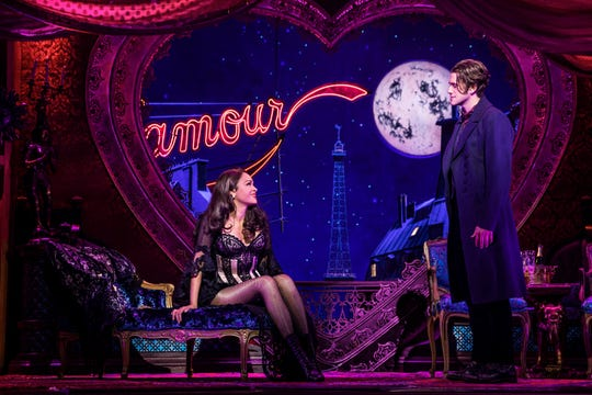 """Karen Olivo and Aaron Tveit in a scene from """"Moulin Rouge."""""""