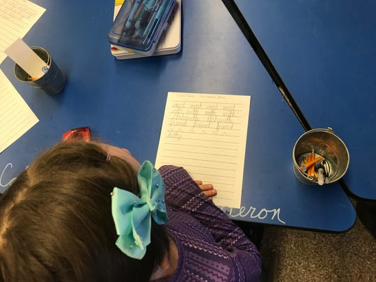 At Evergreen, cursive instruction begins in second grade while print is introduced in kindergarten as students first learn to read and write.