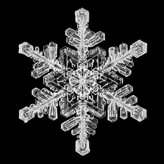 A snowflake photograph by Jericho photographer Stuart Hall. He's photographed more than 27,000 snowflakes, carrying on a legacy started by Wilson 'Snowflake' Bentley in 1885 less than a mile from Hall's home.