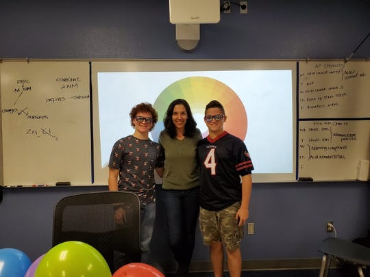 Veterans Memorial High School teacher Sabina Maza gathered donations to purchase Brody and Brennan Bellows the colorblind-correcting lenses.