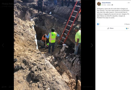 San Patricio County Sheriff Oscar Rivera posted on Facebook that two men were buried at a construction site Tuesday afternoon in Gregory.