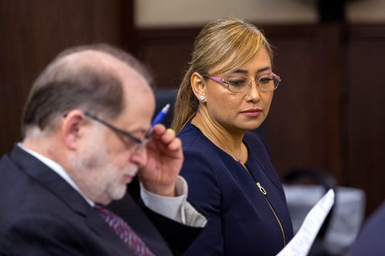 Former Corpus Christi officer Norma Deleon was sentenced by 117th District Court Judge Sandra Watts on Tuesday, Dec. 3, 2019.  A Nueces County jury found her guilty of two counts of official oppression on Nov. 18. At right is defense attorney John S. Flint.