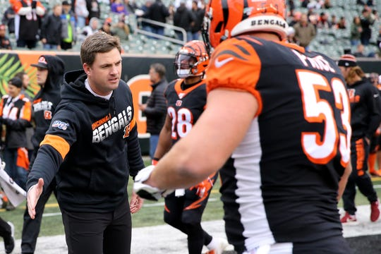 Cincinnati Bengals head coach Zac Taylor encourages the team as they come off the field before kickoff of a Week 13 NFL game against the New York Jets, Sunday, Dec. 1, 2019, at Paul Brown Stadium in Cincinnati.