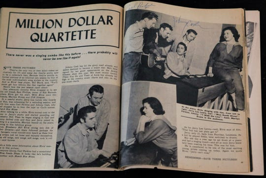 "A copy of Sixteen Magazine with a photo of ""The Million Dollar Quartet"" showing performers Jerry Lee Lewis, Carl Perkins, Elvis Presley and Johnny Cash, and signed by Perkins and Cash, is part of The Gary Pepper Collection of Elvis Presley Memorabilia at Leslie Hindman Auctioneers, Monday, Oct. 12, 2009, in Chicago. Over 200 Elvis-related items will be put up for auction Sunday, Oct. 18."