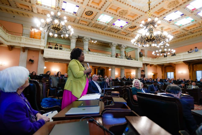 "In this Oct. 30, 2019, photo, Ohio State Representative Stephanie Howse (D), of District 11, speaks during a legislative session at the Ohio Statehouse, in Columbus. ""All of our babies, all of our women, all of our men, people who lose their lives, everybody is worthy of being acknowledged,"" said Howse, who publicly objected to the Legislature's differing treatment of Reagan Tokes and Alianna DeFreeze last year."