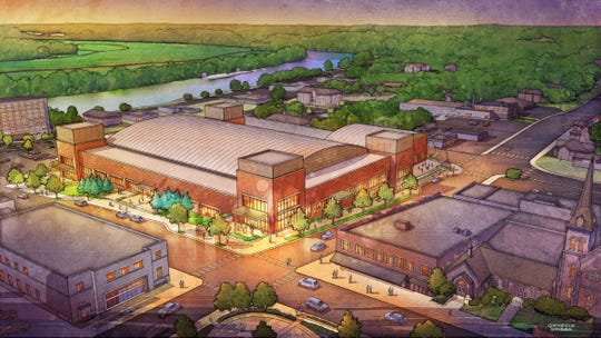 An updated artist rendering of the planned downtown Clarksville Multi-Purpose Events Center, courtesy of Convergence Design, in association with Rufus Johnson Associates.