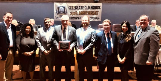 The Township of Old Bridge was recognized by the New Jersey Intergovernmental Insurance Fund (NJIIF) with its Safety Incentive Program award for efforts to create and maintain a safe environment for its employees, volunteers, residents and visitors.Pictured from left with the award are:Frank Speranza, township safety committee chair; Avril Limage, township human resources manager andNJIIF commissioner; Himanshu Shah, township business administrator; Mayor Owen Henry; Zach Edelman, Fairview Insurance broker; Eric Nemeth, NJIIF co-administrator; Rija Khan, E.J. Nemeth P.C., and Tim Weir, a safety control consultant.