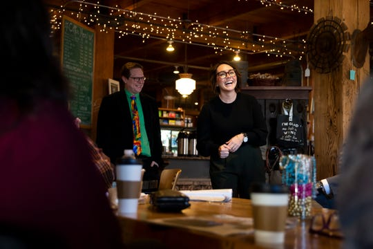 One Iowa Executive Director Courtney Reyes speaks during a quarterly meeting at West End Salvage on Tuesday, Dec. 3, 2019, in Des Moines.