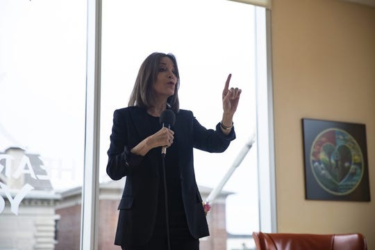 Democratic presidential candidate Marianne Williamson speaks at Heartland Yoga on Sunday, Dec. 1, 2019, in Iowa City.