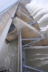The U.S. Army Corps of Engineers built Gavins Point Dam spillway near Yankton, South Dakota to control water levels on the Missouri River. Record snow and rain in winter and spring proved more than the dam could handle, resulting in flooding.