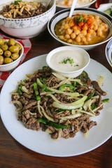 Harhoura — ribeye steak sauteed with onion and jalapeno — from Al Tayeb in Garden City.