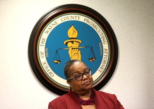 Wayne County Prosecutor Kym Worthy listens to questions from the media after she announced 16 charges brought against JuJuan Parks for the shooting of Detroit Police officers on Nov. 20, 2019.