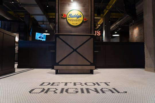 Custom tile work inside the new Buddy's Pizza location in downtown Detroit on Tuesday, Dec. 3, 2019.