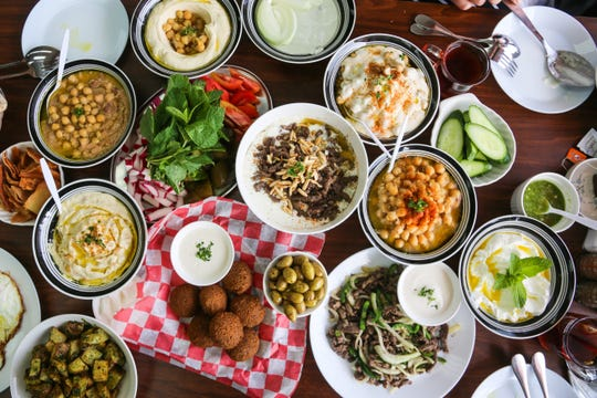 A spread of Lebanese breakfast fare from Al Tayeb in Garden City.