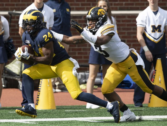 Michigan cornerback Lavert Hill (24) has made All Big Ten first team as voted separately by the media and coaches for the second straight year.