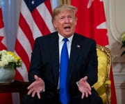 President Donald Trump speaks during a meeting with Canadian Prime Minister Justin Trudeau at Winfield House during the NATO summit, Tuesday, Dec. 3, 2019, in London.