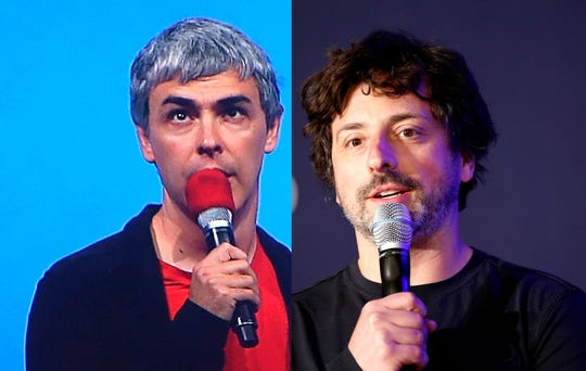 Google co-founders Larry Page, left, and Sergey Brin are stepping down from their roles within the parent company, Alphabet.