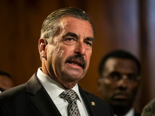 FILE - In this Nov. 8, 2019 file photo, former Los Angeles Police Chief Charlie Beck speaks during a press conference at City Hall after Chicago Mayor Lori Lightfoot officially announced he would be Chicago's interim police superintendent, after Supt. Eddie Johnson announced his retirement.