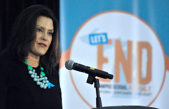 Gov. Gretchen Whitmer recounts a personal story of being sexually assaulted at the beginning of her college career. She gave the keynote speech at the 'Let's End Campus Sexual Assault Summit' at the Eastern Michigan University Student Center on Tuesday, Dec. 3, 2019.