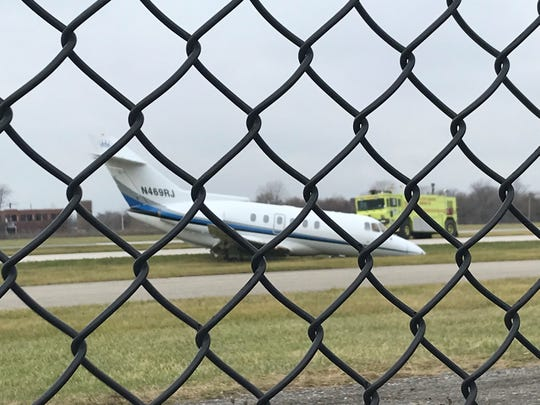 A plane leaking fuel at Detroit City Airport, Tuesday, Dec. 3, 2019.