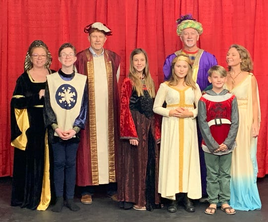 """The Charlotte Players' """"Christmas Through the Ages"""" opens Friday. Pictured, from left, are Sherrie Moody, Caleb Petro, Mike Mood, Dannielle Crowley, Paul Reed, Nina Dotres and Sandi Wood."""