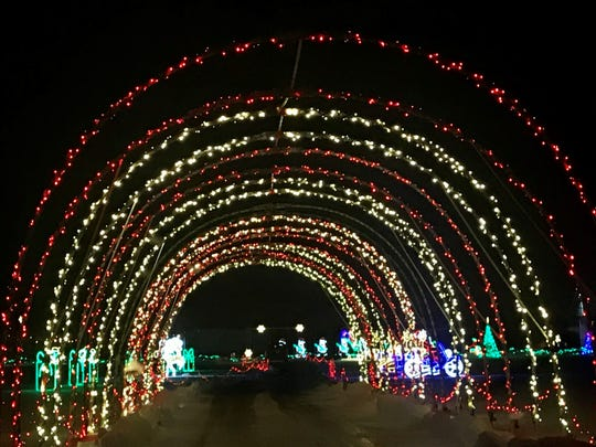 There are two drive-through tunnels at Santa's Rock N Lights.