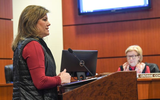 Tanya Hyatt, left, speaks near Crossie Cox, right, during a Clemson City Council meeting in Clemson Monday, December 2, 2019.  A presentation by the group Build a Better Clemson was made during the meeting, sparking a request to pause further approvals for development in the city.