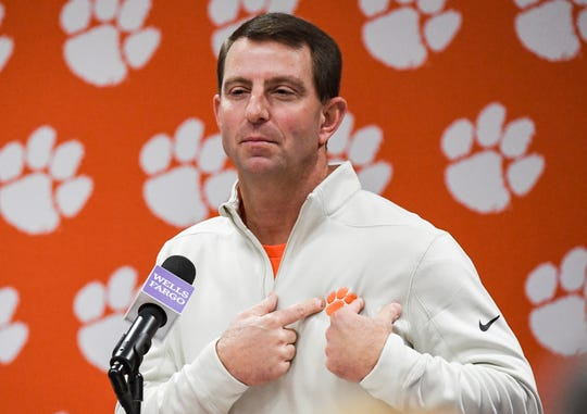 Dabo Swinney talks during his weekly press conference at the Allen Reeves football complex in Clemson Tuesday, December 3, 2019.