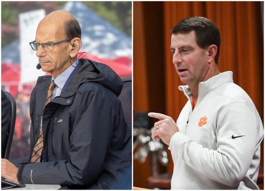 Paul Finebaum, left, and Clemson coach Dabo Swinney.