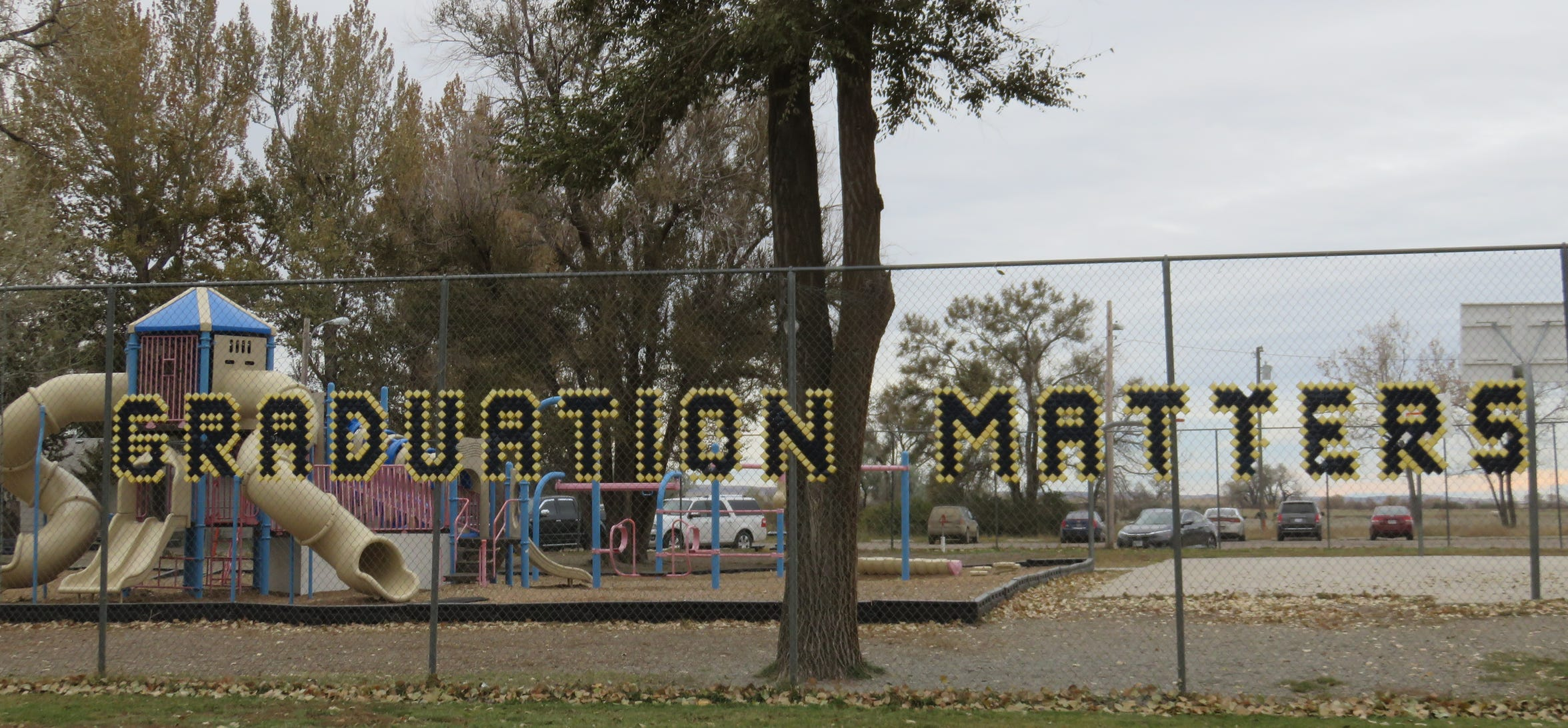 A motivation message outside the playground at Box Elder School.