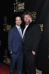 Lin-Manuel Miranda and Oskar Eustis celebrate the 30th Annual Lucille Lortel Awards at NYU Skirball Center on May 10, 2015, in New York City.